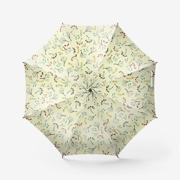 Зонт «Веточки, семена, шиповник. Акварель. Осень.»