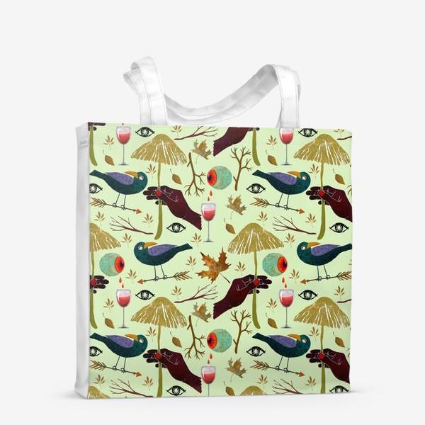 Сумка-шоппер «Вороны, грибы, руки, ветки, кровавые глаза, бокалы, осенние листья. Хэллоуин.»