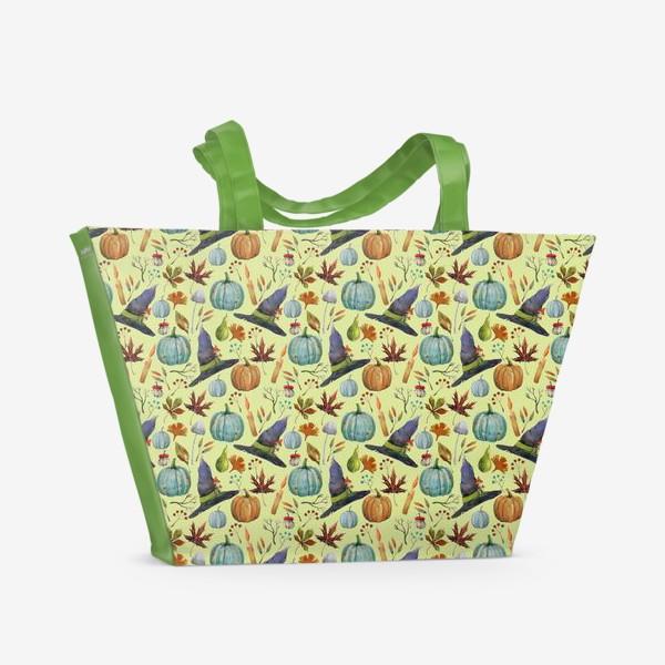 Пляжная сумка «Шляпы, тыквы, свечи, листья. Осень. Волшебство.»