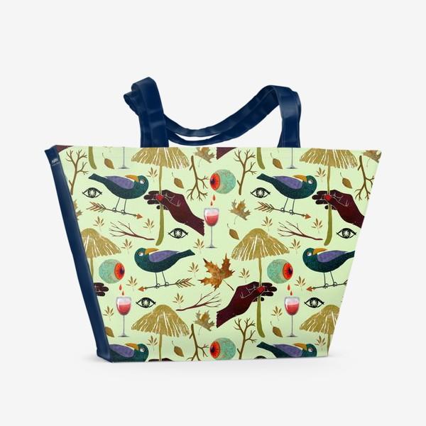 Пляжная сумка «Вороны, грибы, руки, ветки, кровавые глаза, бокалы, осенние листья. Хэллоуин.»