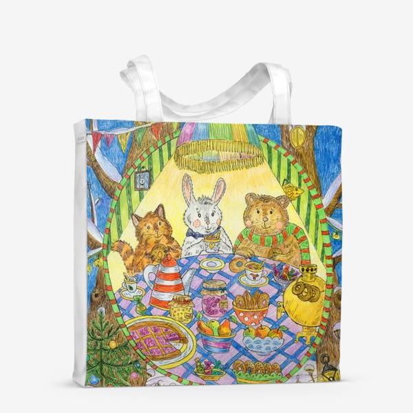 Сумка-шоппер «Новогоднее чаепитие милых животных»