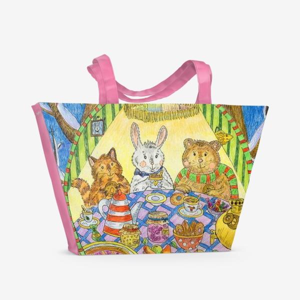 Пляжная сумка «Новогоднее чаепитие милых животных»