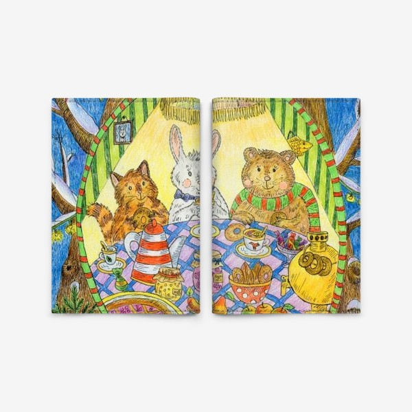 Обложка для паспорта «Новогоднее чаепитие милых животных»