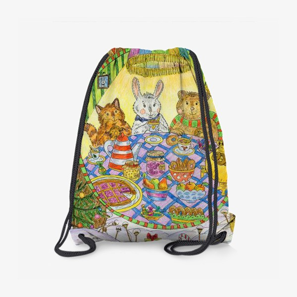 Рюкзак «Новогоднее чаепитие милых животных»