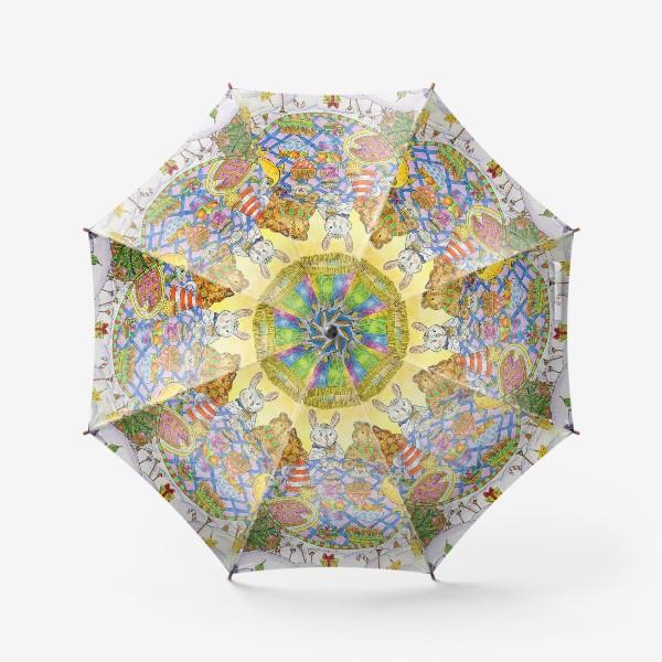 Зонт «Новогоднее чаепитие милых животных»