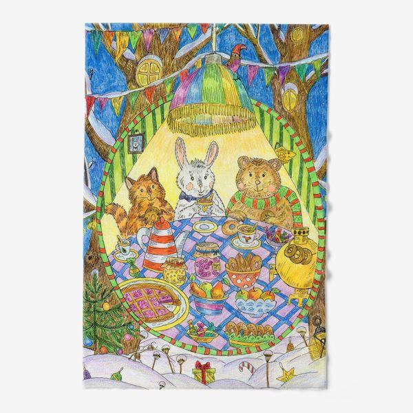 Полотенце «Новогоднее чаепитие милых животных»