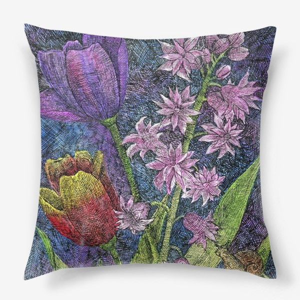 Подушка «Тюльпаны и гиацинт»