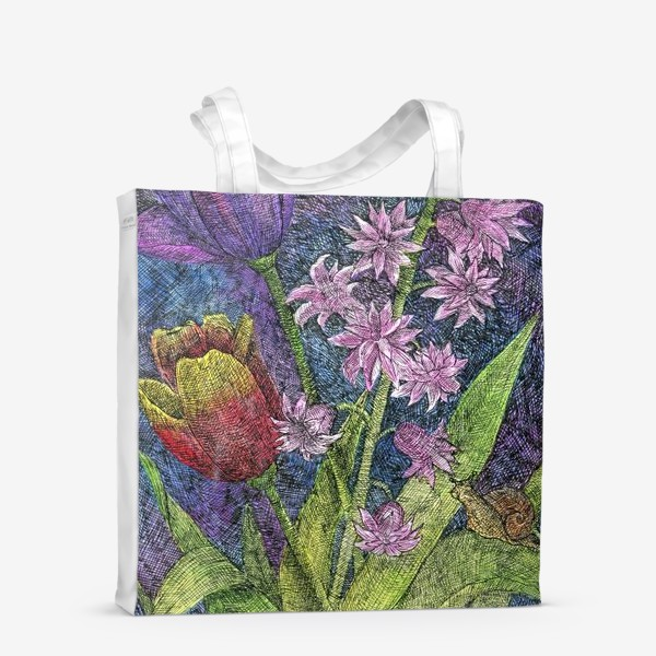 Сумка-шоппер «Тюльпаны и гиацинт»