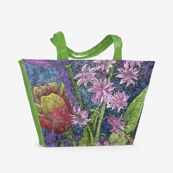 Пляжная сумка «Тюльпаны и гиацинт»