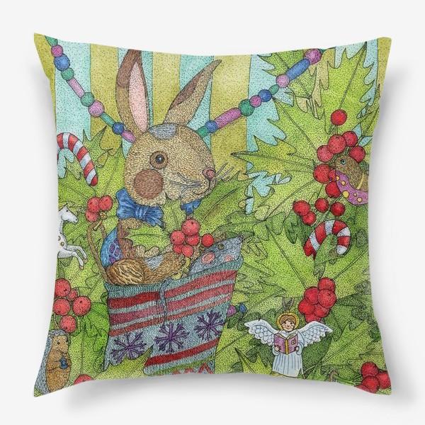 Подушка «Плюшевый кролик на Новый год»