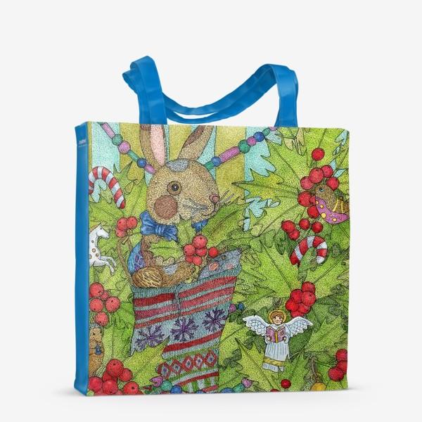 Сумка-шоппер «Плюшевый кролик на Новый год»