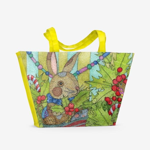 Пляжная сумка «Плюшевый кролик на Новый год»