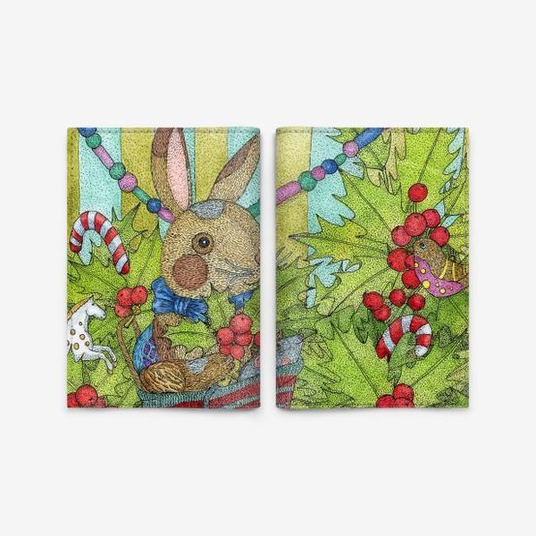 Обложка для паспорта «Плюшевый кролик на Новый год»