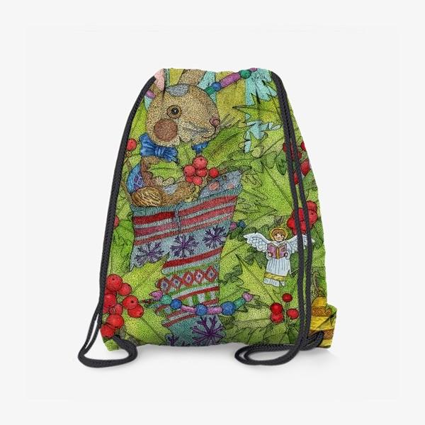 Рюкзак «Плюшевый кролик на Новый год»