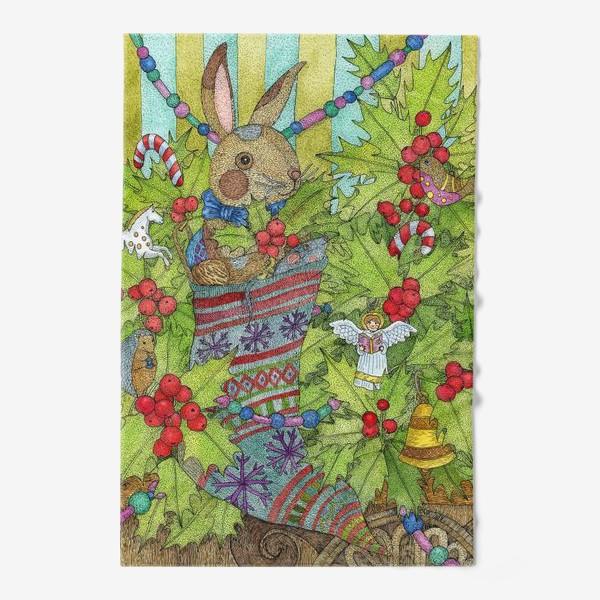Полотенце «Плюшевый кролик на Новый год»