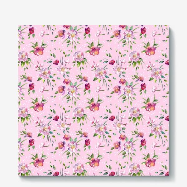 Холст «Акварельные пионы и розы на розовом»