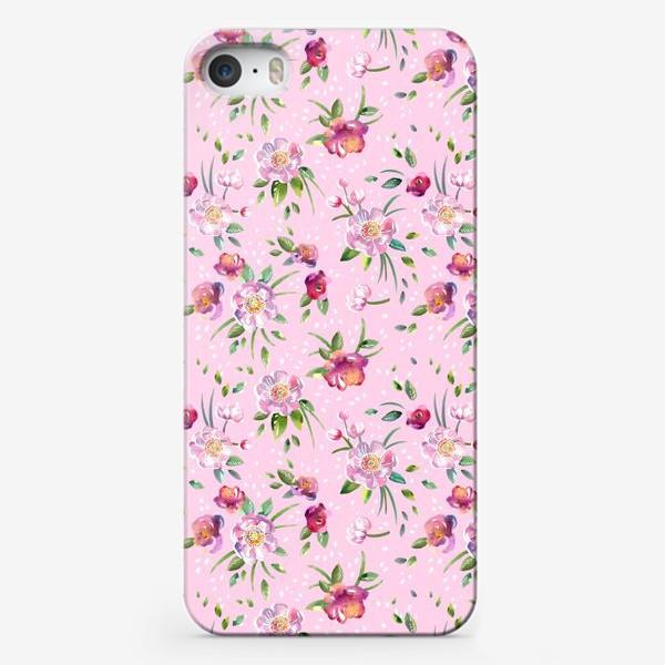 Чехол iPhone «Акварельные пионы и розы на розовом»