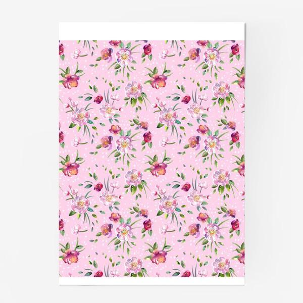 Постер «Акварельные пионы и розы на розовом»