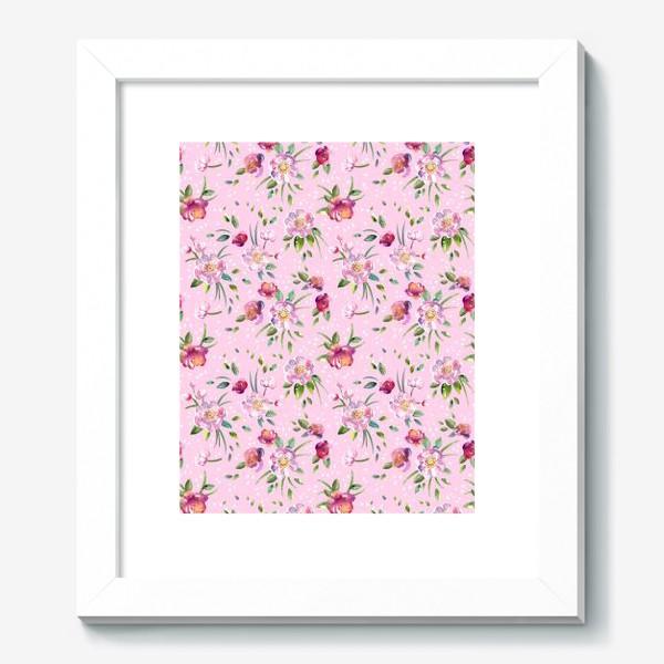 Картина «Акварельные пионы и розы на розовом»