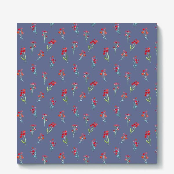 Холст «Коралловые акварельные цветы на пыльно-синевом фоне»