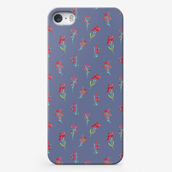 Чехол iPhone «Коралловые акварельные цветы на пыльно-синевом фоне»