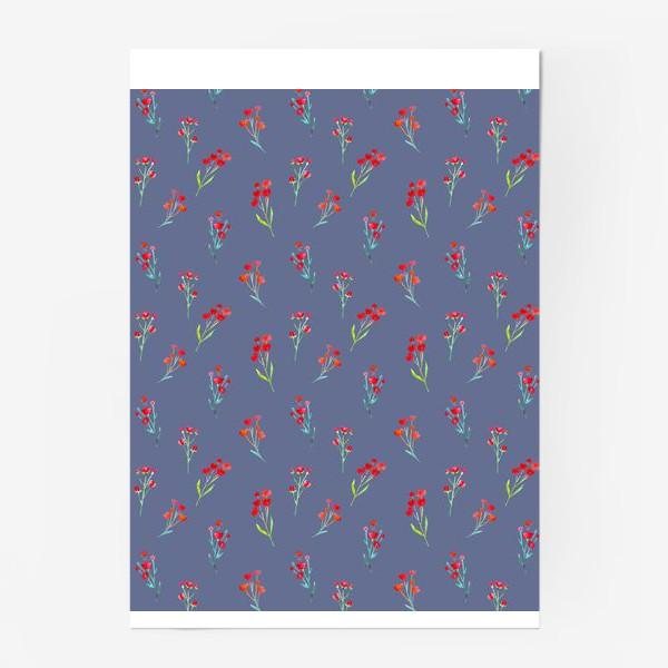 Постер «Коралловые акварельные цветы на пыльно-синевом фоне»
