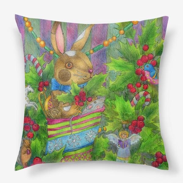Подушка «Заяц в подарок на Новый год»