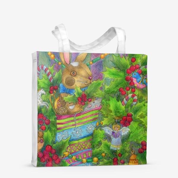 Сумка-шоппер «Заяц в подарок на Новый год»