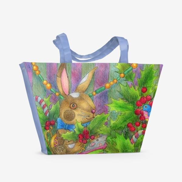 Пляжная сумка «Заяц в подарок на Новый год»