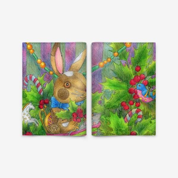 Обложка для паспорта «Заяц в подарок на Новый год»