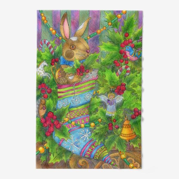 Полотенце «Заяц в подарок на Новый год»