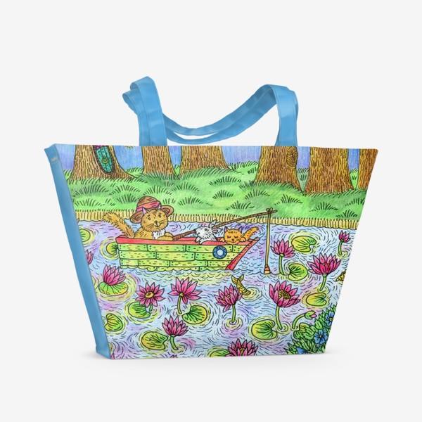 Пляжная сумка «Летняя рыбалка котика»