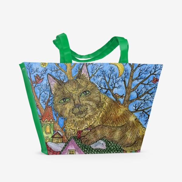 Пляжная сумка «Большая сказочная кошка»
