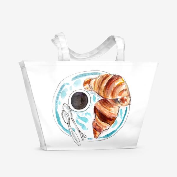 Пляжная сумка «Кофе и круассан. Идеальный завтрак!»
