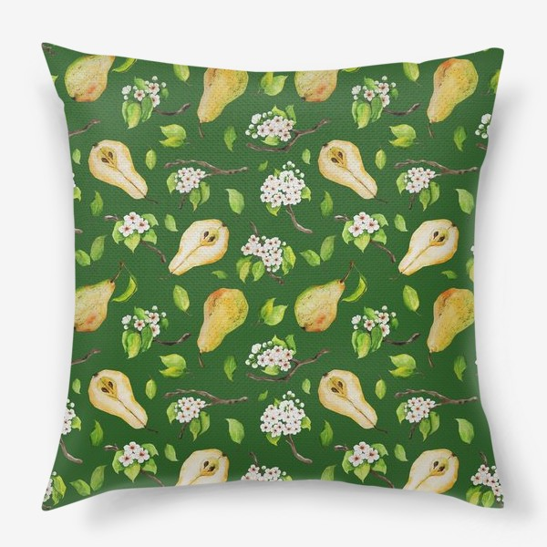 Подушка «Грушевый сад. На зеленом. »