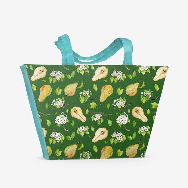 Пляжная сумка «Грушевый сад. На зеленом. »