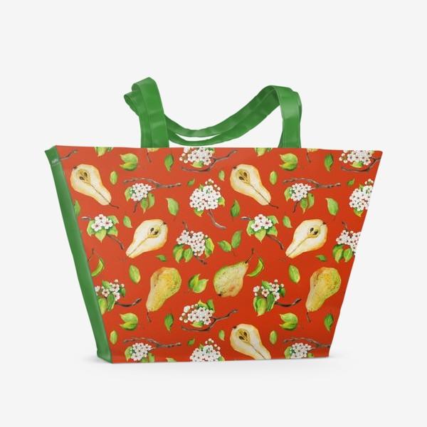 Пляжная сумка «Грушевый сад. На кирпичном фоне.»