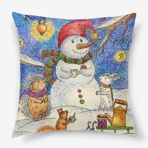 Подушка «Чаепитие веселого снеговика и милых животных»