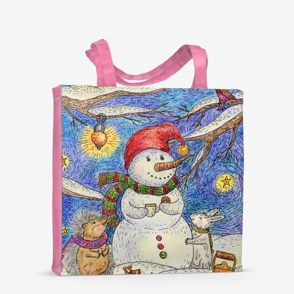 Сумка-шоппер «Чаепитие веселого снеговика и милых животных»