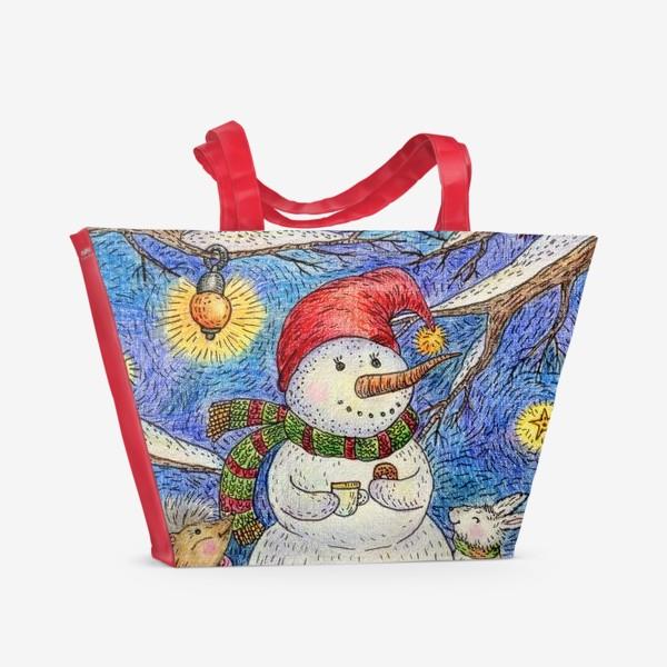 Пляжная сумка «Чаепитие веселого снеговика и милых животных»