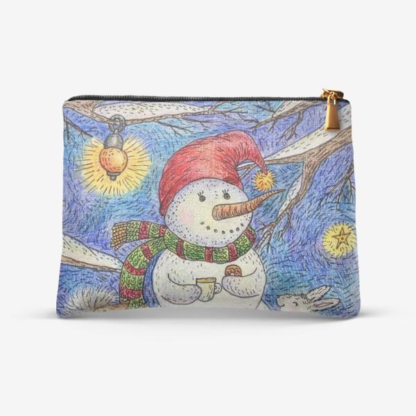 Косметичка «Чаепитие веселого снеговика и милых животных»