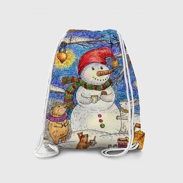 Рюкзак «Чаепитие веселого снеговика и милых животных»