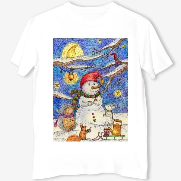Футболка «Чаепитие веселого снеговика и милых животных»