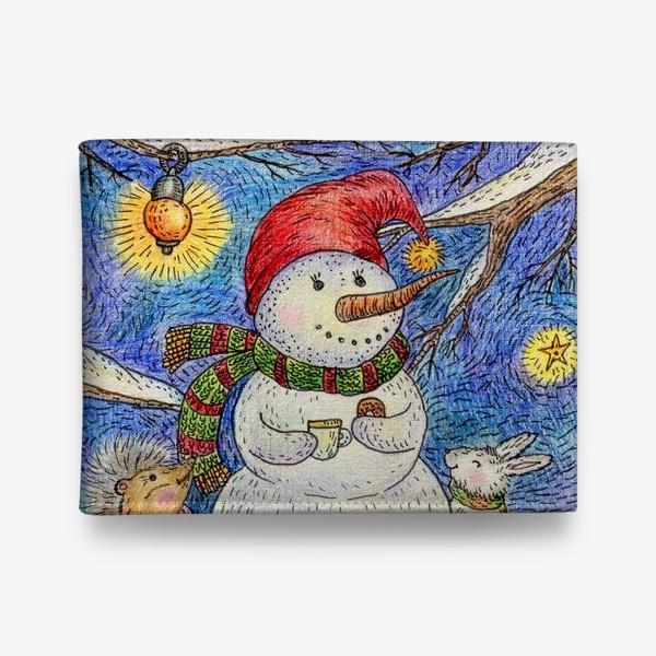 Кошелек «Чаепитие веселого снеговика и милых животных»