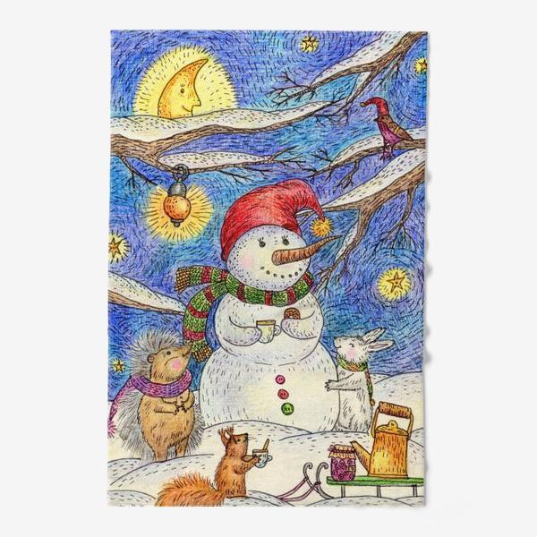 Полотенце «Чаепитие веселого снеговика и милых животных»