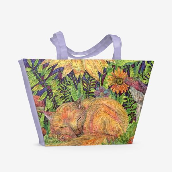 Пляжная сумка «Сон маленького лисенка»