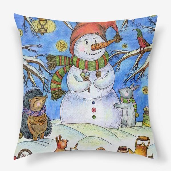 Подушка «Веселый снеговик»