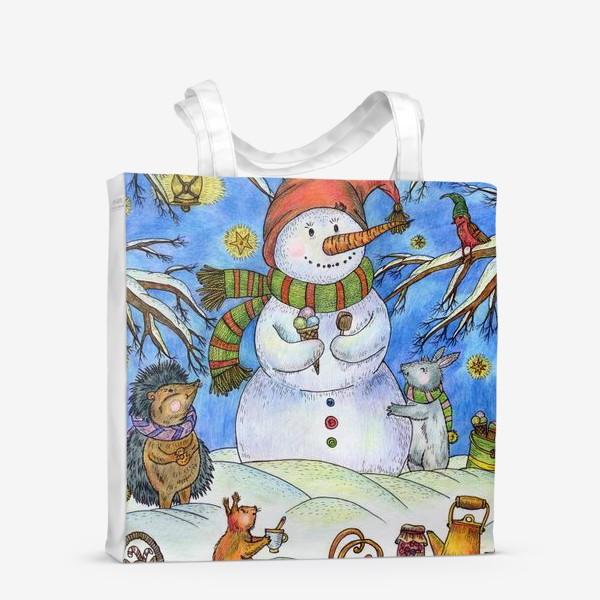 Сумка-шоппер «Веселый снеговик»