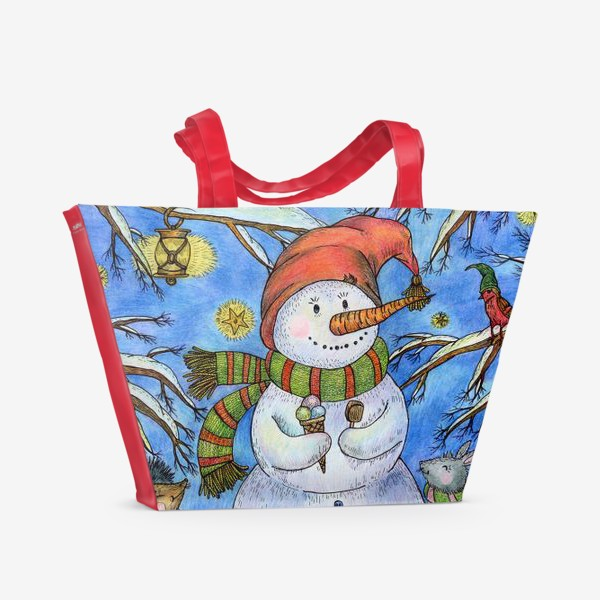 Пляжная сумка «Веселый снеговик»
