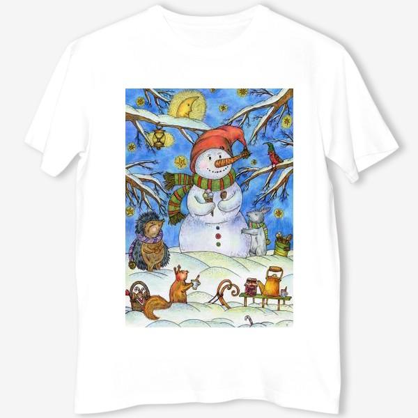 Футболка «Веселый снеговик»